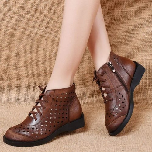 Leather retro round toe hollow short boots women 2021 spring and summer new first layer cowhide soft sole high-cut hole sandals