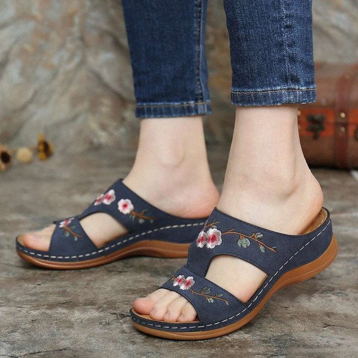 Women Slippers Summer Ladies Fashion Casual Wedge Heel Embroidery Flower Sandals Comfort Breathable Beach Shoes Plus Size D9#