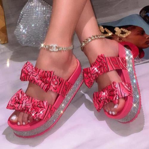 Sandalias Mujer 2021 Red Slides Bandana Shoes Rhinestone Sandals Women Butterfly Dames Schoenen Calzado Mujer Pantoffels Dames