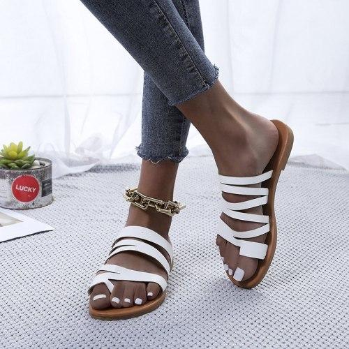 2021 Women Summer Slip on Flat Shoes Woman Vintage Slippers Flip Thong Flats Beach Sandals Sandalias Mujer Sapato Feminino