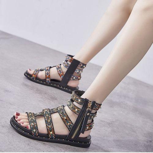 Women Rome Sandals 2021 New Fashion Flat Sandals Vintage Gladiator Non-slip Slippers Ladies Casual Beach Slides Female Footwear