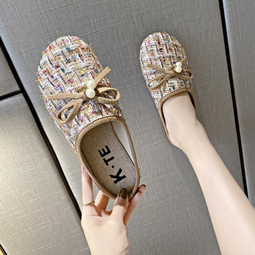 Shoes Cover Toe Woman's Slippers Low Slides Butterfly-Knot Fretwork Heels Fashion Loafers 2021 Flat Luxury Summer Rubber Fabric