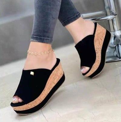 Slippers For Women 2021 Woman Casual Peep Toe Wedge Ladies Platform Sandalias Female Fashion Thick Bottom Women's Shoes Big Size