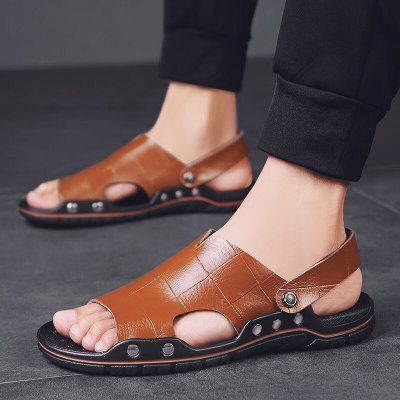 Genuine Leather Ultra-light Mens Sandals 2021 Summer Large Size Breathable Comfort Slippers for Men Daily Fashion Concise Slides