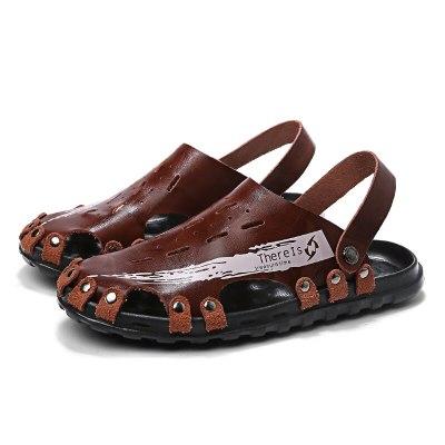 man leather playa masculina sandalle men cuero sandal ritable roman slide herren hombre rubber sandali da beach sandles classic