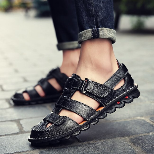 Summer Men Sandals Fashion Design Breathable Casual Beach Shoes Men genuine leather Soft Bottom Outdoor Sandals big size 48