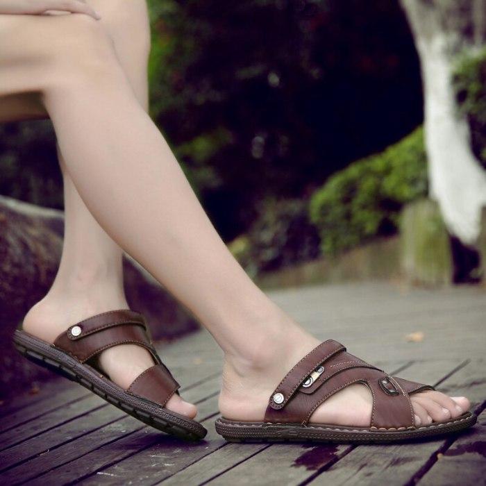2021 New Summer Beach Men Flip Flops Pu Leather Slippers Male Flats Sandals Outdoor Rubber Thong Beach Shoes Men Leather Brand