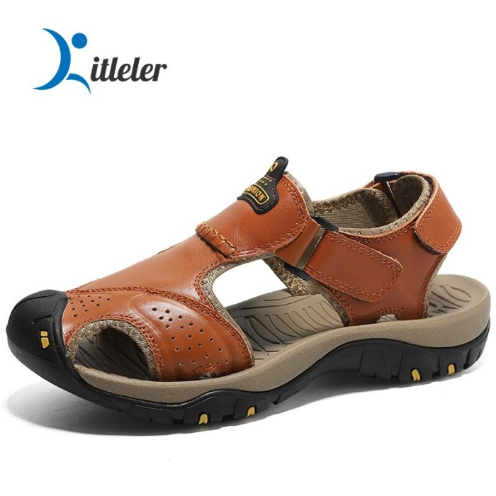 Summer Genuine Leather Water Shoes for Men Soft High Quality Aqua Shoes Non-slip Breathable Sandals Fashion Beach Outdoor Sandal