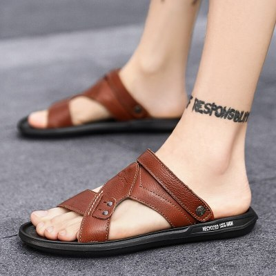 New Fashion Men Sandals Summer Leisure Outdoor Beach Men Casual Shoes High Quality Genuine Leather Men Sandals Beach Size 39-46