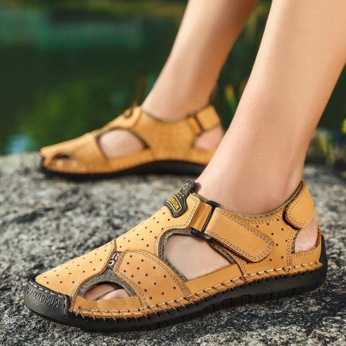 Plus Size 38-48 Mens Sandals Genuine Leather Summer Outdoor Handmade Men Hiking Sandal Non Slip Beach Casual Shoes Sandale Homme