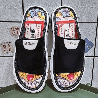 2021 Men's Casual Shoes Slippers Velcro Indoor Outdoor Dual-use Sandals Chinese Style Graffiti Non-slip Wear-resistant Beach Shoes