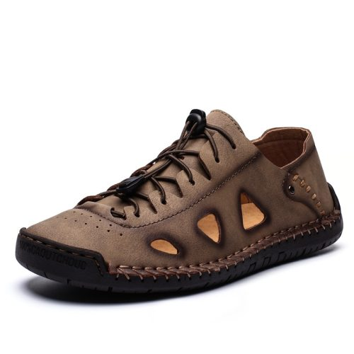 Men Shoes Summer Handmade Leather Hollow out Sandals Outdoor Beach Classic Casual  Shoes Anti-slip Hiking Sneakers Plus Size
