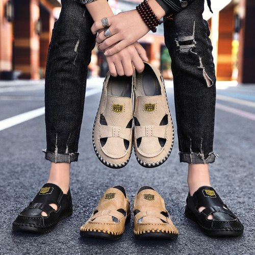 Genuine Leather Sandals Men Handmade sewing Classic Outdoor Beach Sandals Men Breathable Water Trekking Shoes big size 48