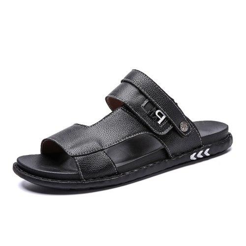 Men's Leather Sandals Breathable Summer Flats Men Sandals Shoes Fashion Beach Plus Big Size Casual Non-Slip Shoe Man's Shoes