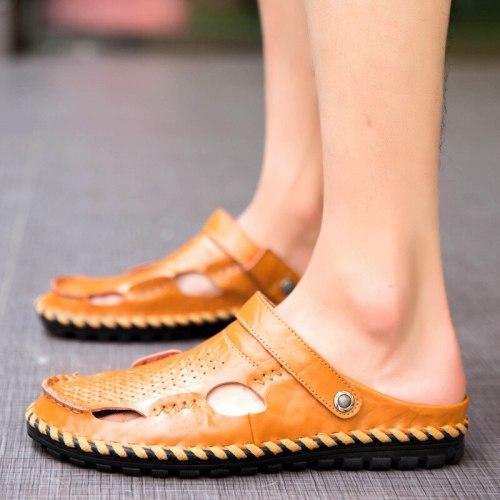 Summer Sandals Men Leather Classic Roman Sandals 2021 Slipper Outdoor Sneaker Beach Rubber Flip Flops Men Water Trekking Sandals