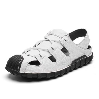 Genuine Leather Men's Summer Hollow Out Casual Shoes Outdoor Big Size Rubber Bottom Non-slip Comfort Breathable Sandals for Men