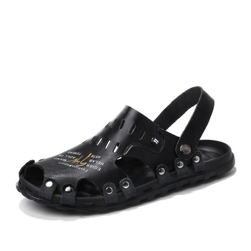 Summer Street Fashion Trendy Mens Leather Casual Sandals Breathable Cool Beach Sandals Soft Light Non-slip Slippers for Male