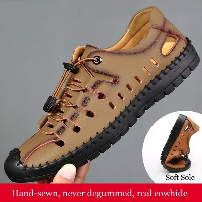 Strap Sandals Boy Casual Cowhide Rubber Sole Outdoor Summer Beach Leather Sandals Men Black Wading Fishing Shoes Male Footwear