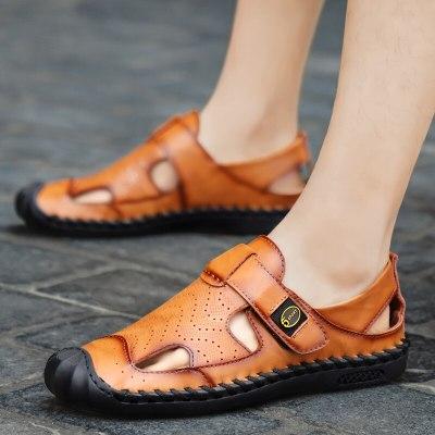 Summer Men's Sandals Handmade Genuine Leather Sandals Outdoor Wading Beach Sandals Men Sandals Classic Mens Flat Sneakers 38-46