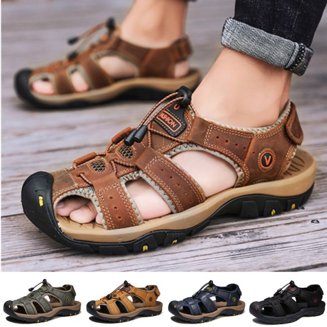 Summer Men's Breathable Sandals Women Beach Casual Shoes Thick Sole Closed Toe Aqua Shoes for Hiking Fishing