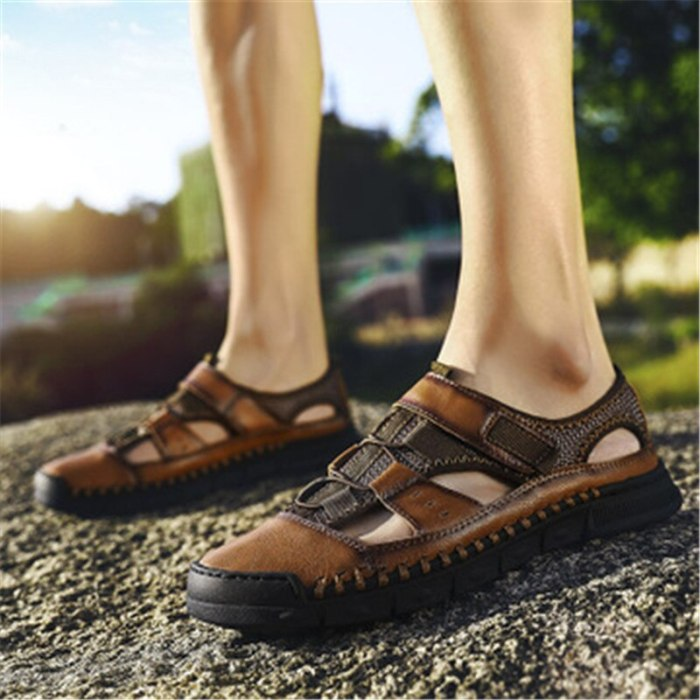 Size 38-46 47 48 New Male Shoes Genuine Leather Men Sandals Summer Men Shoes Beach Sandals Man Fashion Outdoor Casual Sneakers