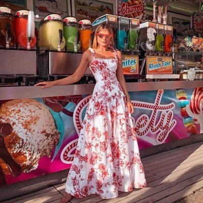 2021 New Plus Size Spaghetti Strap Long Print Dress Sweet Joker Sexy Young Holiday High Waist Women Ball Gown Maxi Dress