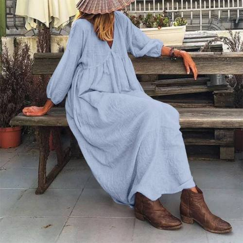 2021 Elegant Women's Puff Sleeve Sundress Spring Solid Maxi Dress Casual Cotton Vestidos Female V Neck Robe Oversized 5XL