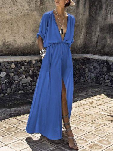 Elegant Deep V neck Long Maxi Dress Women 2021 Summer Loose Beach Dresses Female Vintage Sexy High Split Boho Dress NS3948
