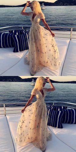 2021 New High-end Star Chiffon Sweet Holiday Free Long Dress Deep V-Neck Short Sleeve Women High Waist A-Line Maxi Dress