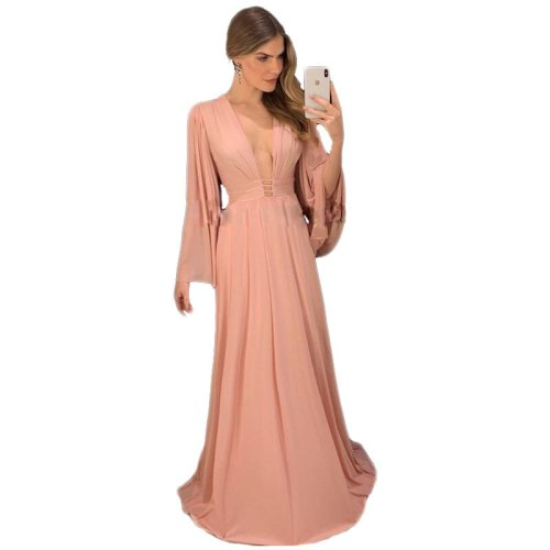 Spring and Summer Sexy V-neck Slim Dress Women's Elegant Solid Color Flare Sleeve High Waist Pleated Dress