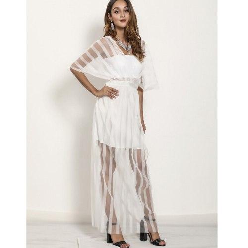 Summer Elegant Mesh High Waist Stitching Raglan Sleeve Dress Women's Sexy V-neck Half Sleeve Backless Dress