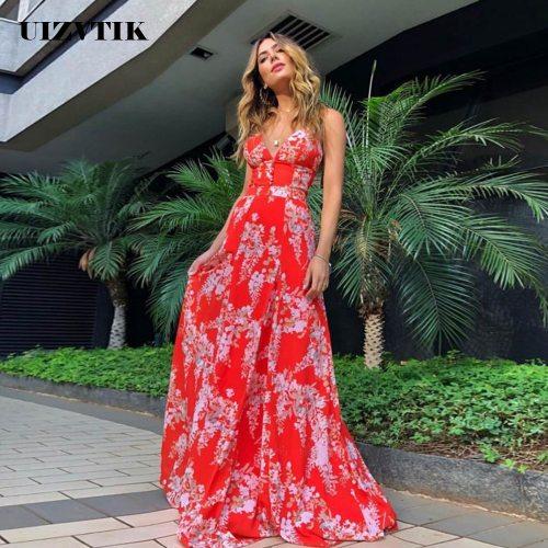 Summer Dress Women 2021 Floral Boho Beach Long Party Strap vestidos de mujer Casual Sexy Deep V Neck Backless Maxi Sundresses