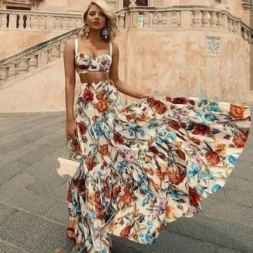 sleeveless maxi dress women 2 Piece set vintage floral print bohemian summer dresses vestidos plus size beach rode 2020