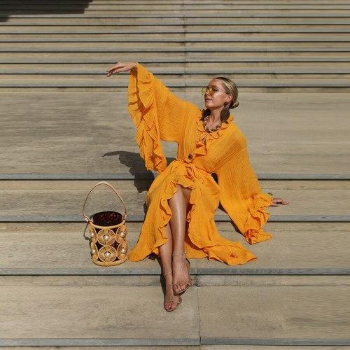 Spring Autumn Solid Color Ruffles Stitching Dress Women's Elegant Flare Sleeve V-neck Lace-up High Waist Slit Dress