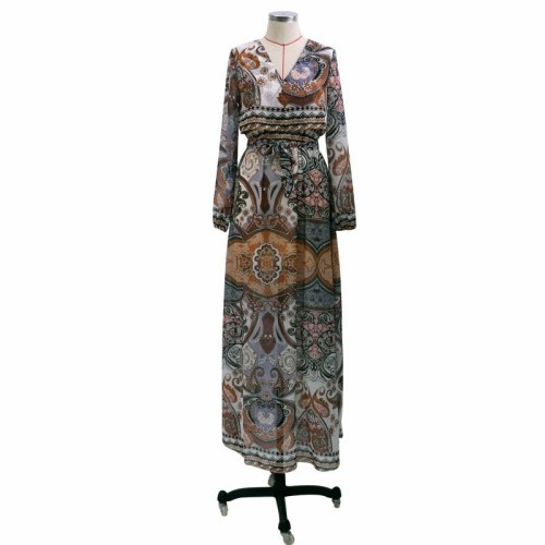 2021 Spring Summer Vintage Sexy Holiday Young Chiffon Long Dress Full Sleeve V-Neck Women High Waist Ball Gown Maxi Dress