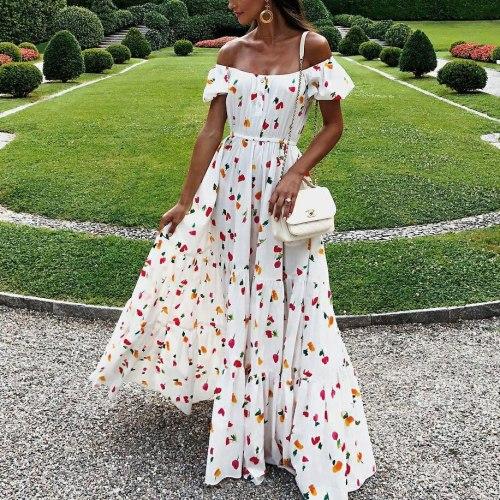 Maxi Dress Floral Off Shoulder Vintage Sexy Woman Clothes Chiffon Dresses Zomer Jurk Summer Women Sukienki Letnie Robe Vetement