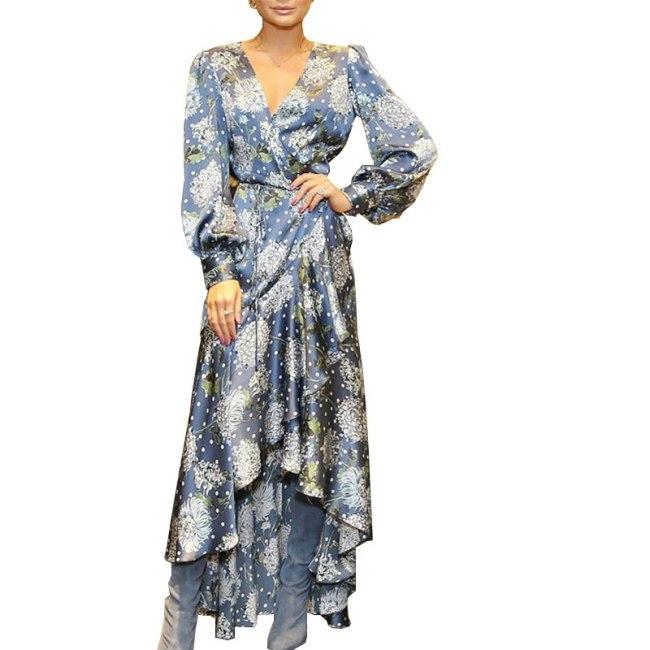 Women's Dress Autumn Vintage Print Maxi Dress Women Fashion V-Neck Long Sleeve Printing Sexy Lacing Elegant Ladies Long Dresses