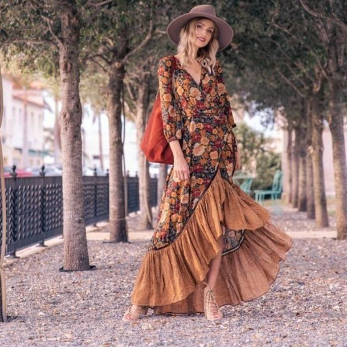 2021 Autumn New Floor Length Dress Women's Long Sleeve Printing Dress Floral Vintage Irregular Maxi Dress Mujer Chic Wrap Dress