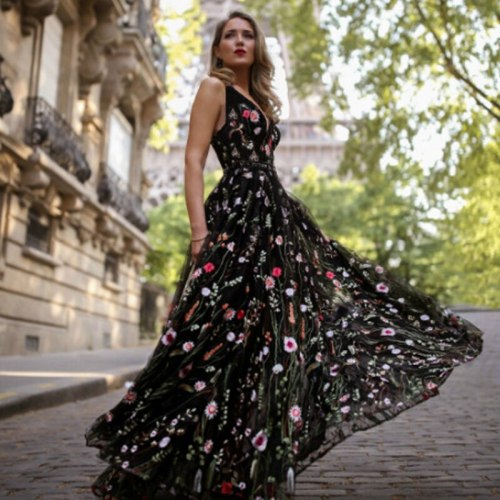 Chic A-Line V Neck Backless Party Night Formal Print Sleeveless Back To School Dance Embroidery Maix Long Dress