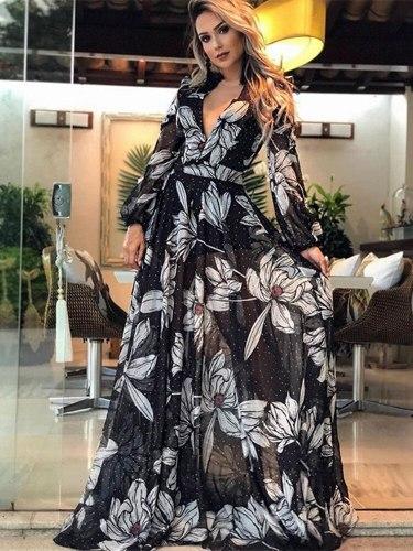 New summer dress women Flower print lady vestidos Plus size long sleeve dresses for women Sexy V neck thin Bohemian long dresses