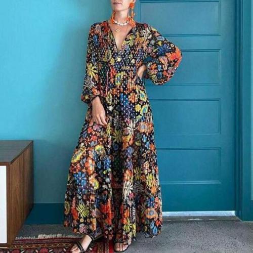 Women Dress V-neck Lantern Sleeve Printing Dresses Women Plus Size Long Sleeve Vintage Long Flowers Dresses Women 2021