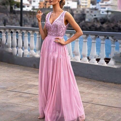2021 Summer New Western Style Women's Dress Fashion Lace Splicing Net Yarn Sexy Split Fork V-neck High Waist Solid Colo