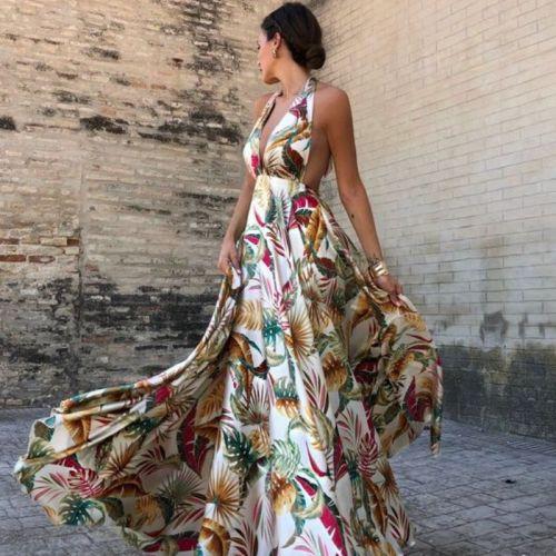 Womens Summer Boho Maxi Long Dress Evening Party Beach Dresses Sundress Floral Halter Dress Summer 2020 Vestidos De Festa