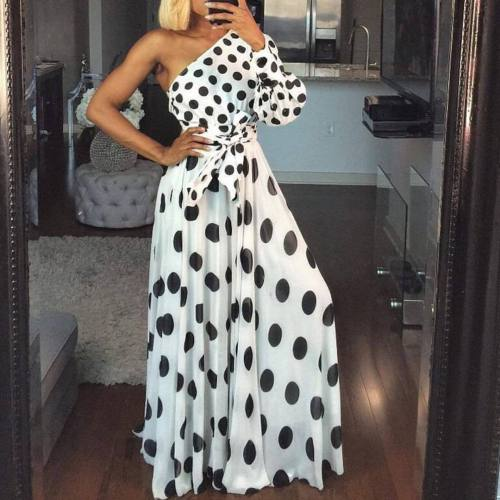 Women Polka Dot Dress One Shoulder Asymmetry Big Swing Maxi Beach Dress