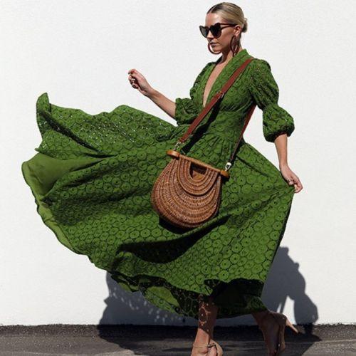 Z-zoux Women Dress Puff Sleeve V-neck Print Dresses Plus Size Vintage Sexy Print Long Dresses 2021 New Summer Clothes Women