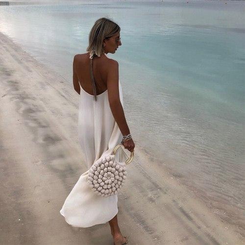 Sleeveless Halter Deep V-neck Halter Sexy Dress Women's Fashion Casual Elegant Summer Dresses 2019 Beach Dress New Sundress