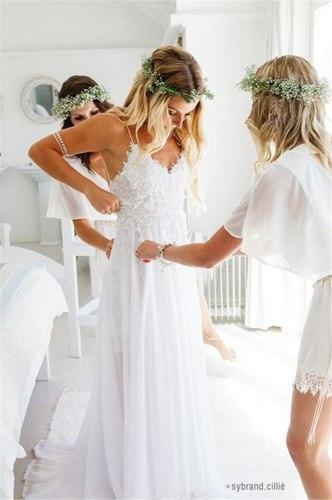 Spaghetti Straps White Chiffon Front Slit Beach Wedding Dress with Lace Elegant Open Back Bridal Dress lakshmigown