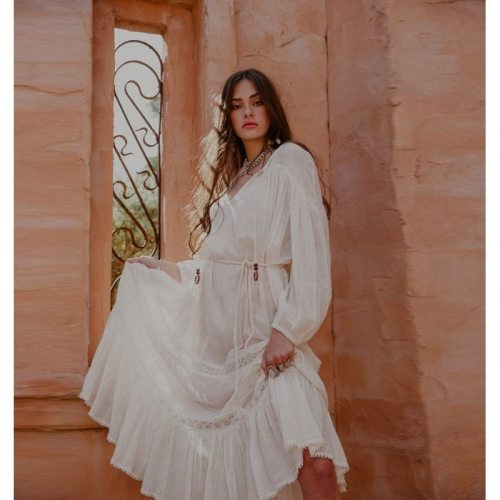 Maxi Dress For Women Bohemian 2021 Maternity Commuter Solid Color Loose Large Size V-Neck Lace Lantern Sleeve Long Skirt