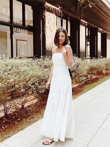 Fashion casual women's card shoulder collar white thin waist slim with temperament dress female