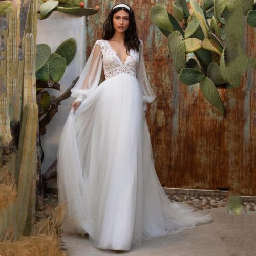 Eightree Deep V-Neck White Wedding Dress Sexy Backless Lace Tulle Party Long Sleeve Dress Simple 2021 Beach Wedding Dresses